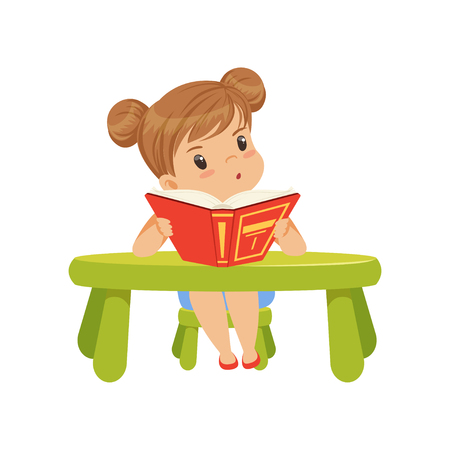 Sweet little girl character sitting at the table and reading a book vector Illustration on a white background