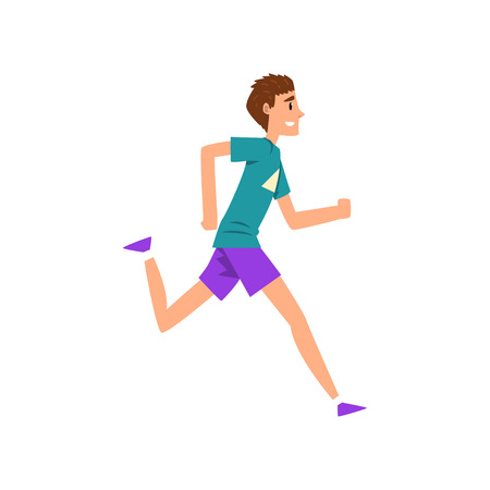 Young man running, active healthy lifestyle concept cartoon vector Illustration on a white background 版權商用圖片 - 102020918