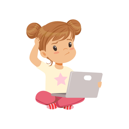 Sweet little girl character using laptop while sitting on the floor vector Illustration on a white background Vettoriali