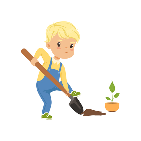 Cute little boy character digging the hole by shovel to plant seedling vector Illustration on a white background Vectores
