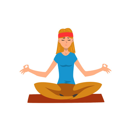 Young woman practicing yoga in lotus position, active healthy lifestyle concept cartoon vector Illustration on a white background