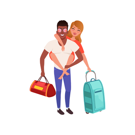 Happy couple in love with travel bags, people traveling together during summer vacation vector Illustration on a white background