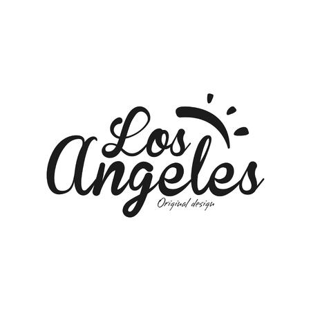 Los Angeles city name, original design, black ink hand written inscription, typography design for poster, card, poster, banner, tag vector Illustration