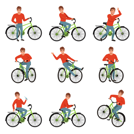 Male bicyclist riding on bike set, active lifestyle concept vector Illustrations on a white background Иллюстрация