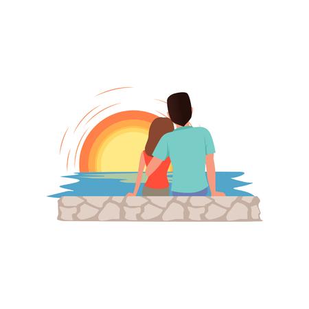 Couple amoureux assis sur la plage et admirer l & # 39 ; homme et femme de mer de soleil pendant l & # 39 ; été vacances illustration sur un fond blanc Banque d'images - 102021497