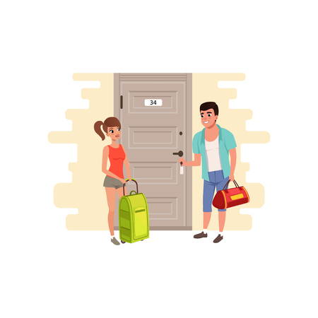 Young couple standing in front of the door of the hotel room vector Illustration on a white background