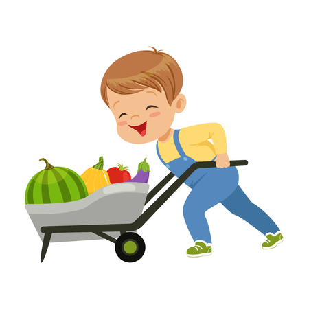 Cute little boy character pushing wheelbarrow full of vegetables vector Illustration on a white background