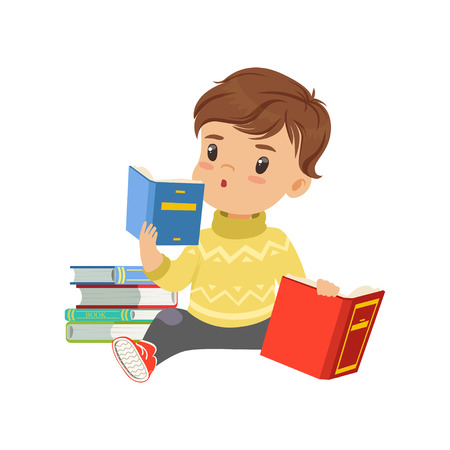 Smart little boy character sitting on the floor and reading books vector Illustration on a white background