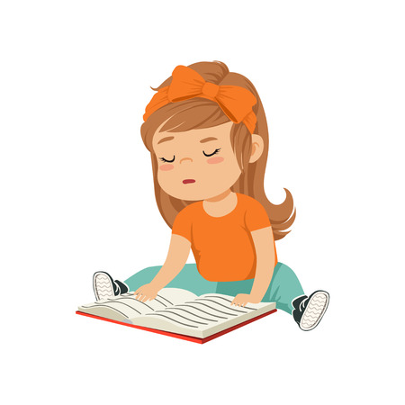 Lovely little girl character sitting on the floor and reading a book vector Illustration on a white background