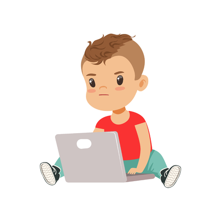 Cute little boy character using laptop while sitting on the floor vector Illustration on a white background