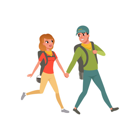 Young couple walking with backpacks, man and woman traveling together during summer vacation vector Illustration on a white background