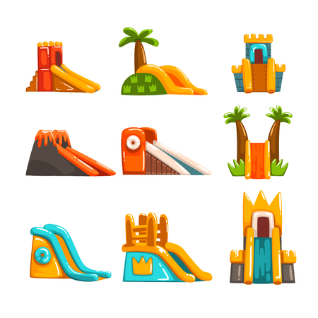 Inflatable slides set, summer amusement park bouncy equipment vector Illustrations on a white background Stock Illustratie