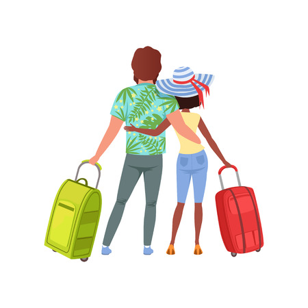 Young couple with travel bags, back view, man and woman traveling together during summer vacation vector Illustration on a white background Foto de archivo - 102020759