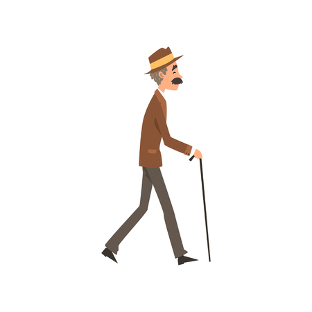 Senior man walking with cane, active healthy lifestyle concept cartoon vector Illustration on a white background