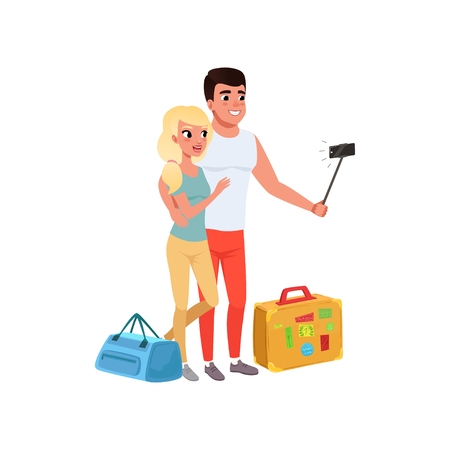 Tourist couple with bags taking selfie using selfie stick, man and woman traveling together during summer vacation vector Illustration