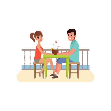 Family couple sitting at the cafe near the beach and drinking cocktail, man and woman on romantic date vector Illustration on a white background