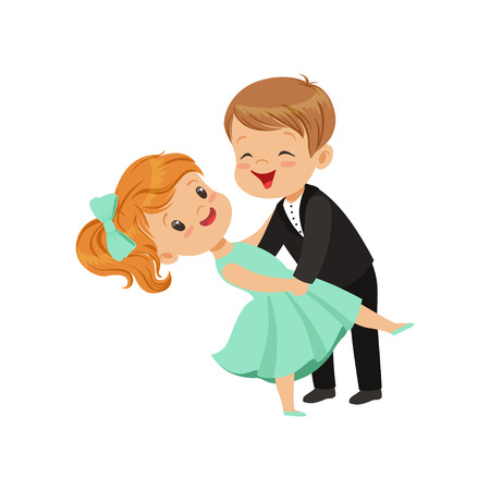 Cute little boy and girl dancing classical dance in elegant clothes vector Illustration i on a white background