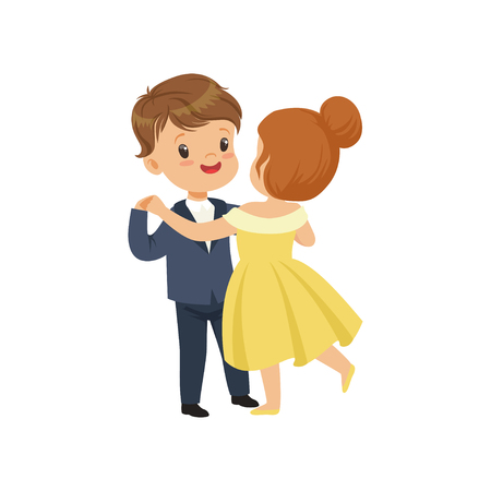 Cute little boy and girl dancing waltz in elegant clothes vector Illustration on a white background Illustration
