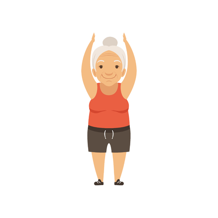 Grey senior woman in sports uniform standing with arms raised, grandmother character doing morning exercises or therapeutic gymnastics, active and healthy lifestyle vector Illustration