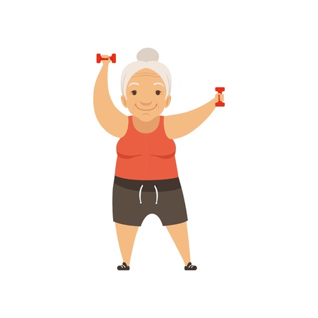 Graue ältere Frau in der Sportuniform, die mit Hanteln, Großmuttercharakter, der Morgenübungen oder therapeutische Gymnastik, aktive und gesunde Lebensstilvektorillustration tut Vektorgrafik