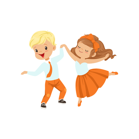 Cute little boy and girl enjoying the dance vector Illustration on a white background