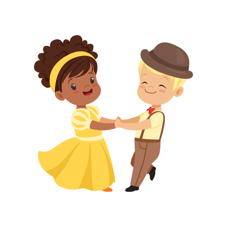 Cute smiling little boy and girl dancing in elegant clothes vector Illustration on a white background