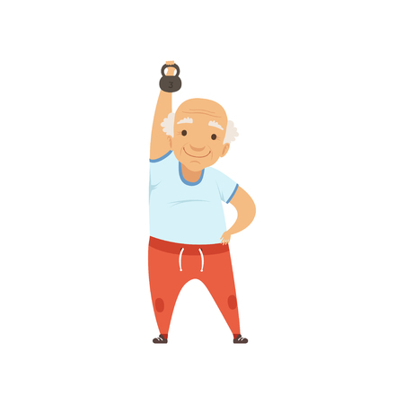 Senior man in sports uniform exercising with kettlebell, grandmother character doing morning exercises or therapeutic gymnastics, active and healthy lifestyle vector Illustration