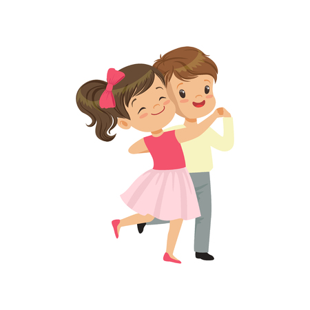 Mignon petit garçon et fille danse vector Illustration sur fond blanc