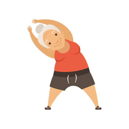 Grey senior woman doing sport exercise, incline to side, grandmother character doing morning exercises or therapeutic gymnastics, active and healthy lifestyle vector Illustration