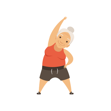 Grey senior woman in sports uniform doing incline to side, grandmother character doing morning exercises or therapeutic gymnastics, active and healthy lifestyle vector Illustration Stock Illustratie