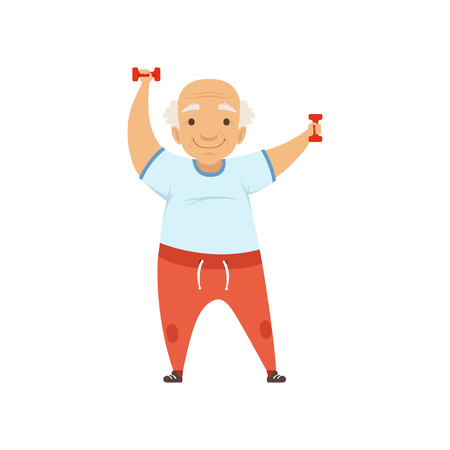 Senior man in sports uniform exercising with dumbbells, grandmother character doing morning exercises or therapeutic gymnastics, active and healthy lifestyle vector Illustration Illustration
