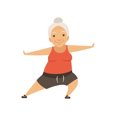 Donna maggiore grigia che fa sport, carattere della nonna facendo esercizi mattutini o ginnastica terapeutica, vettore di stile di vita attivo e sano illustrazione su sfondo bianco Vettoriali