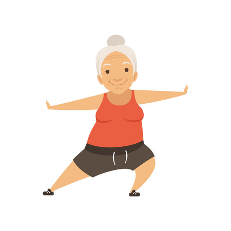 Grey senior woman doing sports, grandmother character doing morning exercises or therapeutic gymnastics, active and healthy lifestyle vector Illustration on a white background 向量圖像