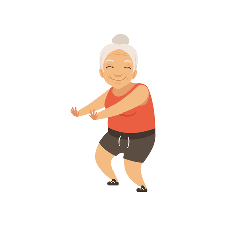 Grey senior woman in sports uniform doing squats, grandmother character doing morning exercises or therapeutic gymnastics, active and healthy lifestyle vector Illustration on a white background
