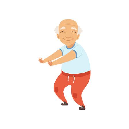Senior man in sport uniforme doen squats, grootmoeder karakter doen ochtend oefeningen of therapeutische gymnastiek, actieve en gezonde levensstijl vector illustratie op een witte achtergrond
