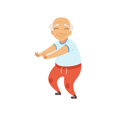 Senior man in sports uniform doing squats, grandmother character doing morning exercises or therapeutic gymnastics, active and healthy lifestyle vector Illustration on a white background Çizim