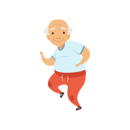 Senior man running in sports uniform, grandmother character doing morning exercises or therapeutic gymnastics, active and healthy lifestyle vector Illustration
