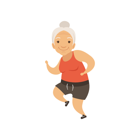Grey senior woman running in sports uniform, grandmother character doing morning exercises or therapeutic gymnastics, active and healthy lifestyle vector Illustration