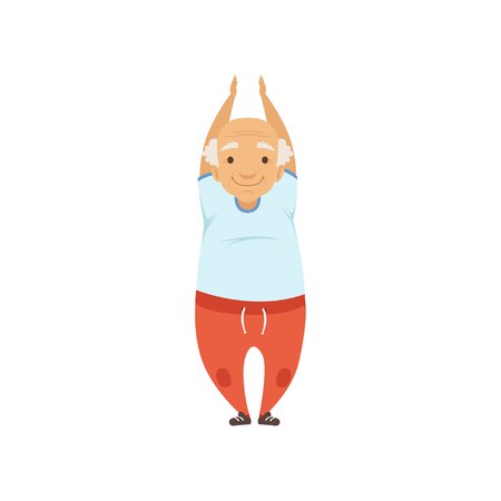 Senior man in sports uniform standing with arms raised, grandmother character doing morning exercises or therapeutic gymnastics, active and healthy lifestyle vector Illustration