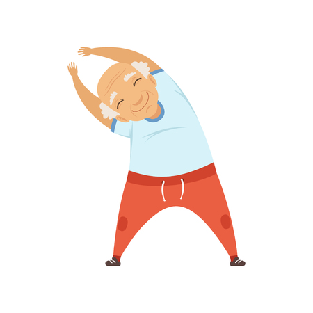 Senior man sport oefening doet, neiging naar kant, grootmoeder karakter doen ochtendoefeningen of therapeutische gymnastiek, actieve en gezonde levensstijl vector illustratie