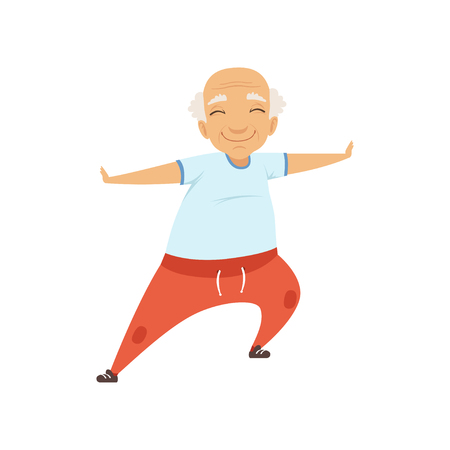 Älterer Mann, der Sport macht, Großmuttercharakter, der Morgenübungen oder therapeutische Gymnastik, aktive und gesunde Lebensstilvektorillustration auf einem weißen Hintergrund tut