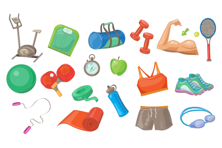 Sport equipment set, sports inventory vector Illustrations on a white background