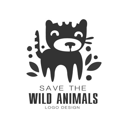 Save the wild animals design, protection the planet badge vector Illustrations on a white background