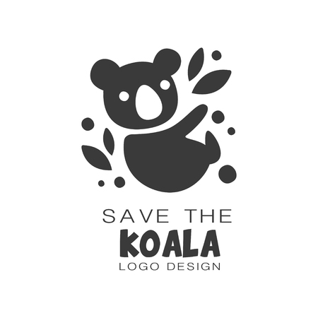 Save the koala design, protection of wild animal black and white sign vector Illustrations on a white background