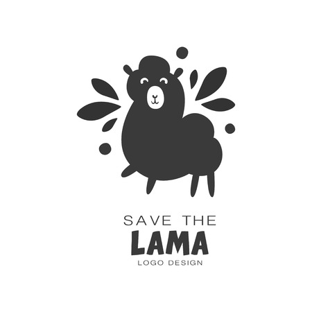 Save the lama design, protection of wild animal black and white sign vector Illustrations on a white background