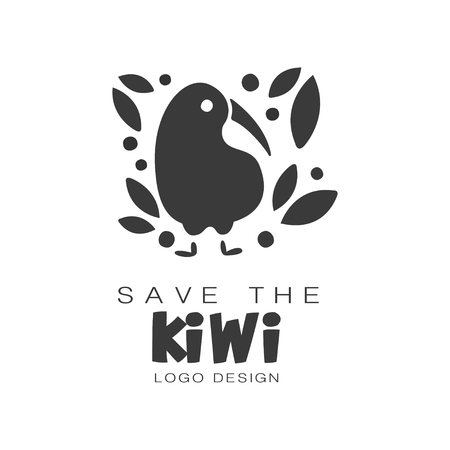 Save the kiwi  design, protection of wild animal black and white sign vector Illustrations on a white background 向量圖像