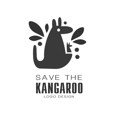Save the kangaroo design, protection of wild animal black and white sign vector Illustrations on a white background