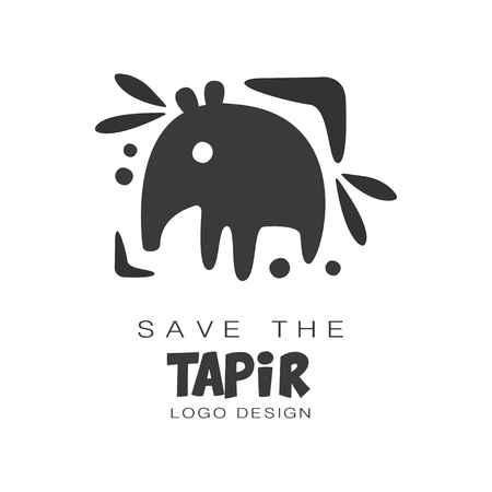 Save the tapir design, protection of wild animal black and white sign vector Illustrations on a white background Illustration