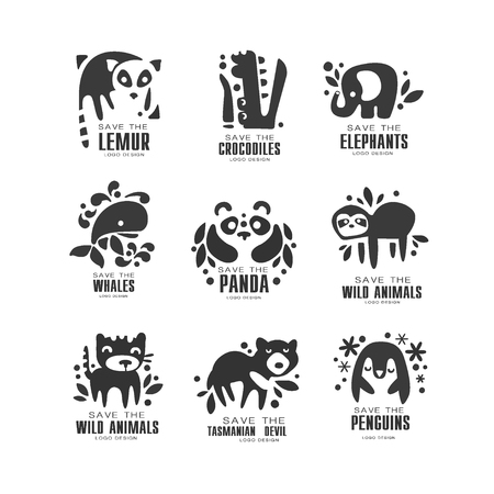Save wild animal design set, protection of african animals black and white sign vector Illustrations on a white background