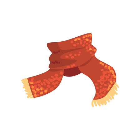 Red wool scarf with yellow fringe on the ends. Warm accessory for autumn or winter weather. Element of garment. Flat vector design  イラスト・ベクター素材